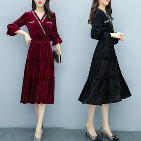 YHSS52348新款时尚优雅气质收腰显瘦V领长袖闪闪丝绒连衣裙TZF