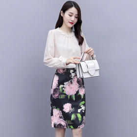 HRFS-WY60539新款时尚优雅气质花边圆领长袖上衣印花半身裙两件套TZF