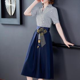 HT-N-B03-A1-9094新款时尚优雅气质收腰显瘦条纹假两件连衣裙TZF