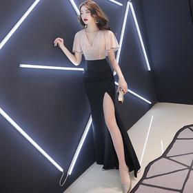 SYFS新款高端优雅气质修身V领短袖高开叉礼服裙TZF