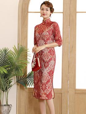 DLQ-A2682新款优雅气质改良立领中袖中长款刺绣旗袍裙TZF