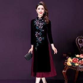 YMR8350新款优雅雅气质修身立领长袖灯芯绒印花中长款连衣裙TZF