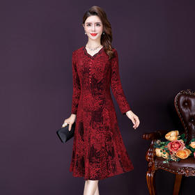 YMR8353新款时尚优雅气质修身V领长袖蕾丝烫钻连衣裙TZF