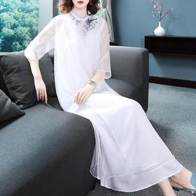 KDS511新款中国风优雅气质宽松立领中袖中长款刺绣连衣裙TZF