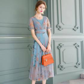FMY31055新款时尚优雅气质收腰显瘦V领短袖印花连衣裙TZF