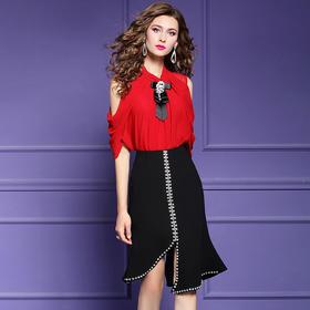 FMY31360新款时尚优雅气质露肩上衣鱼尾半身裙两件套TZF