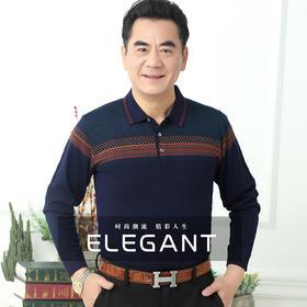 HZMY119新款时尚气质翻领长袖条纹针织衫TZF