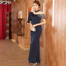 DLQ-A2587新款中国风优雅气质改良立领短袖礼服裙TZF