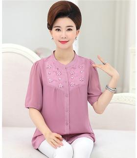 QKC000013夏季时尚气质短袖雪纺衫