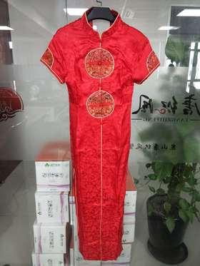 QKC00003优雅气质修身显瘦立领短袖开叉长款旗袍