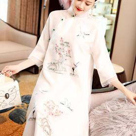 【清仓特价  不退不换】OG99183中国风刺绣汉服连衣裙TZF