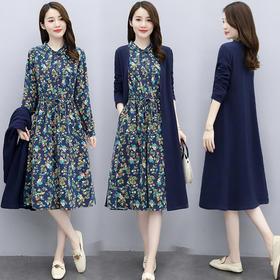 CQ-XBL085新款时尚优雅气质印花连衣裙两件套TZF