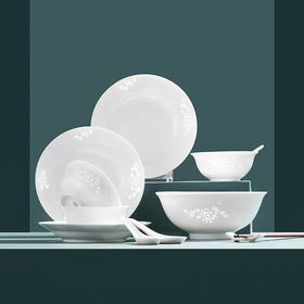 玉牡丹素玲珑餐具套装(16件装),掌柜推荐,景德镇玲珑瓷,手工镂雕,中式餐具之美