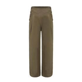 (现货)MAISON COVET自有品牌  军绿色高腰造型阔腿裤
