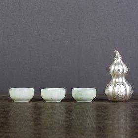 银葫芦玉石酒具