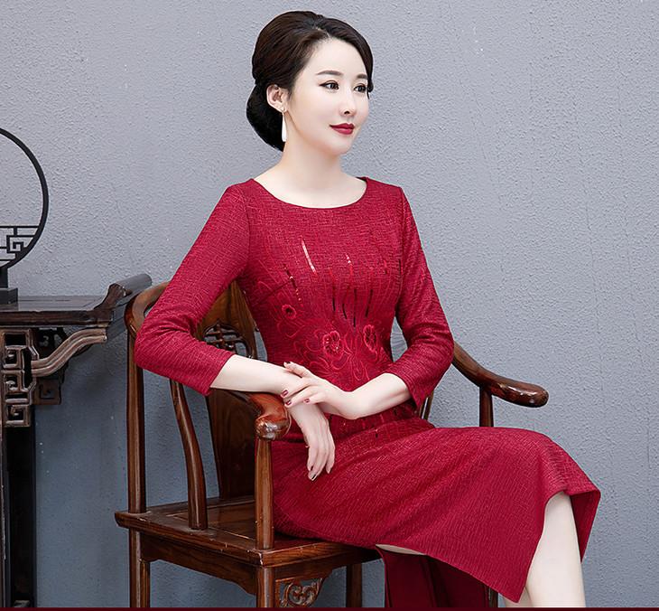 高档真丝旗袍裙_WXG TH15高贵高档大码旗袍裙