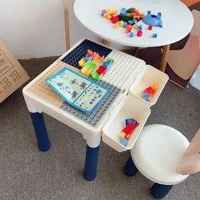 多功能积木桌一桌多用儿童动脑桌面大小益智玩具拼装桌 桌子+椅子+收纳格+60颗粒积木