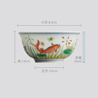 长物居 成化款 手绘斗彩瓷器小杯品茗杯功夫茶杯 商品图2