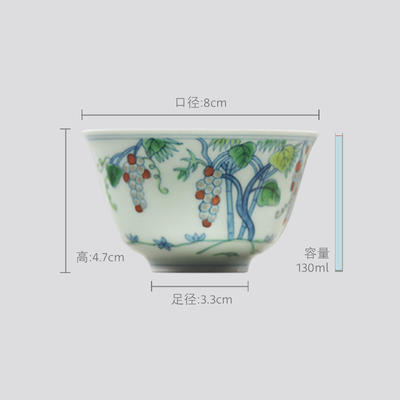 长物居 成化款 手绘斗彩瓷器小杯品茗杯功夫茶杯 商品图1