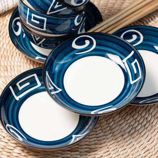 【为思礼】「日式手绘瓷器餐具」16件套日式和风千叶草手绘餐具套装 盘子/碗 商品图3