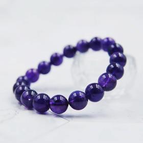 天然紫水晶圆珠手串