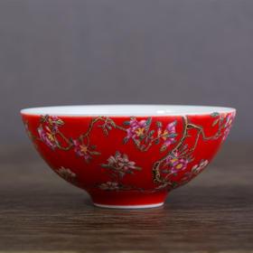 红地珐琅彩花纹杯