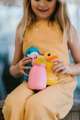 B.Duck小黄鸭儿童保温杯时尚卡通超萌3D鸭头不锈钢便携水杯直饮杯 330ml