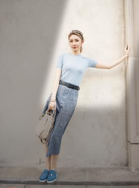 MAISON COVET 自有品牌 藏蓝格纹裙裤