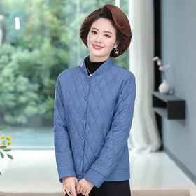 【寒冰紫雨】   大货 色秋冬季棒球领短款外套  韩版显瘦黑色外衣 简约蓝色棉服女   CCCJY7881