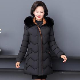 【寒冰紫雨】   大货 色秋冬季大毛领中长款外套  韩版显瘦黑色外衣 简约墨绿棉服女    CCCJY3116