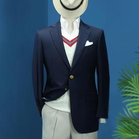 男士全毛款单排两粒扣平驳领西装上衣 两色可选