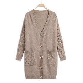 【寒冰紫雨】  针织开衫女中长款大码新款 宽松春季早秋纯色外搭毛衣外套    CCCJY13