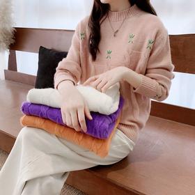 【寒冰紫雨】  宽松显瘦气质女装短款刺绣套头针织毛衣女  春秋装打底衫上衣女学生    CCCYQ4203