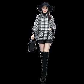 【寒冰紫雨】毛呢外套女中长款妮子外套女  大衣女蝙蝠袖斗篷款外套  呢大衣格子配毛领    CCCHZ2665