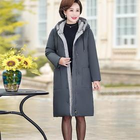 【寒冰紫雨】年轻妈妈装冬季中长款连帽大口袋羽绒棉服  CCCJY015