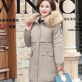 【寒冰紫雨】 XL-5XL大码大毛领羽绒棉服女面包服中长款大口袋外套       CCCJY9816