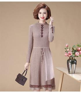 【寒冰紫雨】 气质春秋装长袖连衣裙  小立领中长款针织裙子   CCCJY3053