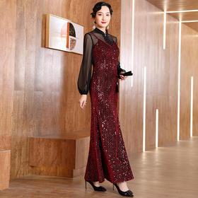 DLQ-A2637轻奢高端气质性感网纱长袖两件套礼服TZF