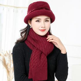 【清仓特价 不退不换】YL针织保暖妈妈帽+麻花围巾TZF