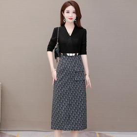 QYM-KED-932F63-Y秋季时尚气质假两件一步裙TZF