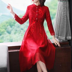 【清仓特价 不退不换】OG6135新款中式喜鹊刺绣改良旗袍TZF