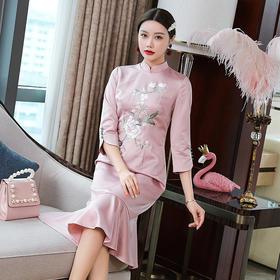 OG-99564复古中国风刺绣包臀鱼尾裙TZF
