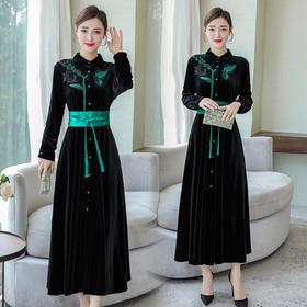 HT-N-A46-5993-6993新款中国风复古刺绣连衣裙TZF
