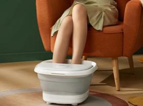 【恒温足浴 红光暖足】旗舰版艾斯凯可折叠泡脚桶 气泡自助按摩 红光暖足 智能遥控