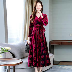 HT-DSD-10-2335新款秋季高贵金丝绒连衣裙TZF