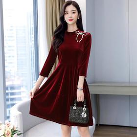 AHM-yk6371新款七分袖显瘦收腰A字裙TZF
