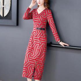 AHM-nrg9055新款优雅显瘦收腰复古花色休闲裙TZF