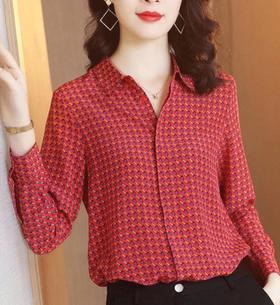 XFFS-6919印花长袖高端红色衬衫TZF