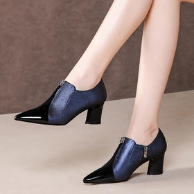 KBY-GLS7207真皮粗跟尖头拼色高跟女鞋TZF