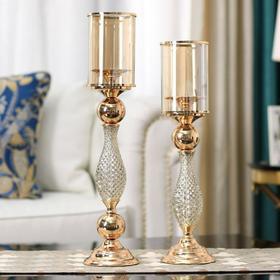 【家居摆件】*欧式金属玻璃浪漫烛台样板间装饰品客厅餐桌奢华家居餐厅美式摆件